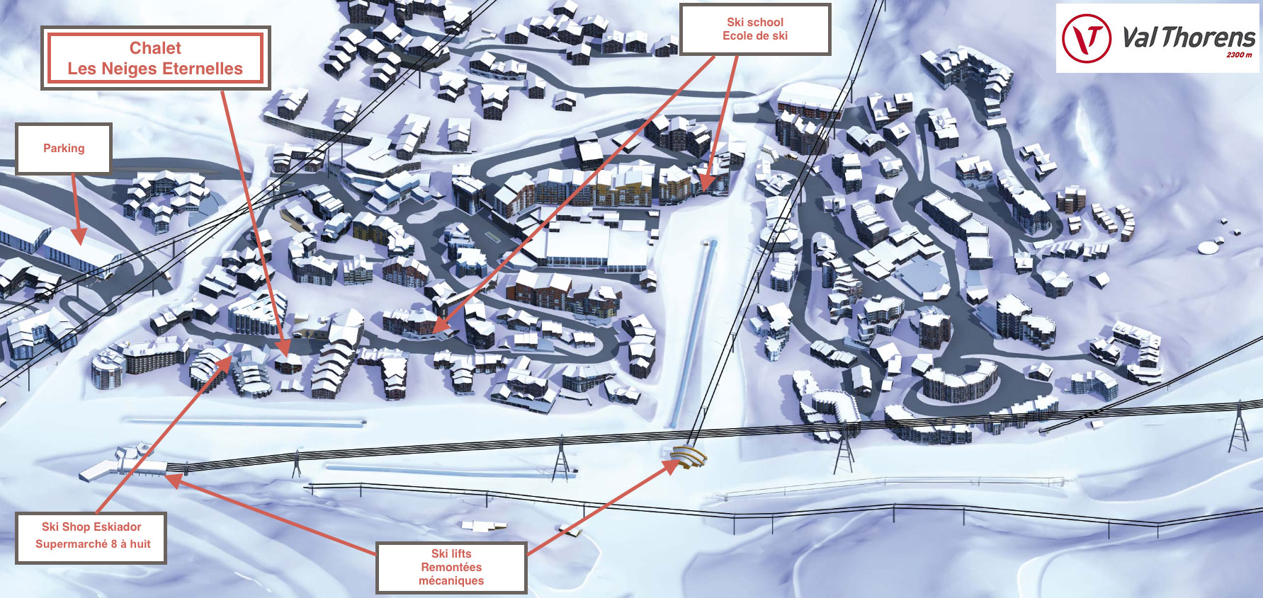 Plan situation Val Thorens - Neiges Eternelles